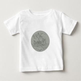Desenho do círculo do navio de guerra do Trireme Camiseta Para Bebê