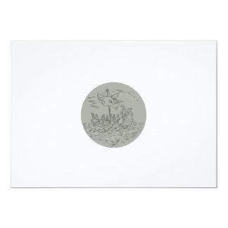 Desenho do círculo do navio de guerra do Trireme Convite 12.7 X 17.78cm