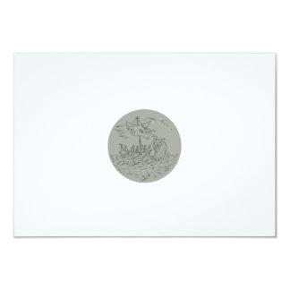 Desenho do círculo do navio de guerra do Trireme Convite 8.89 X 12.7cm