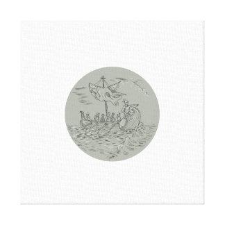 Desenho do círculo do navio de guerra do Trireme Impressão Em Canvas