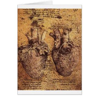Desenho do coração e de seus vasos sanguíneos cartão
