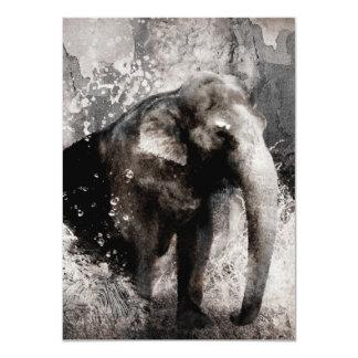 Desenho do elefante do vintage - arte da pintura convite 11.30 x 15.87cm