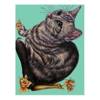 Desenho do gato com os Daffodils no cartão Cartão Postal