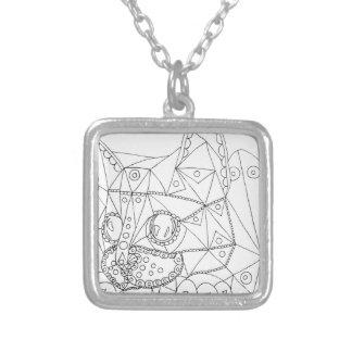 Desenho do gato ilusório para colorir colar banhado a prata