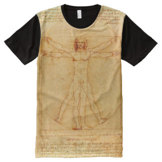 Desenho do homem de Leonardo da Vinci Vitruvian Camisetas Com Impressão Frontal Completa