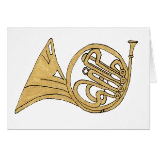 Desenho do instrumento musical da trompa francesa cartão de nota
