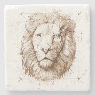 Desenho do leão porta-copo de pedra