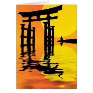 Desenho do por do sol de Torii do japonês (porta) Cartão