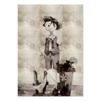 Desenho do pote de flor do menino cartao de visita
