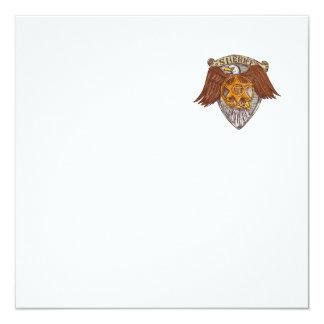 Desenho do protetor de Eagle do americano do Convite Quadrado 13.35 X 13.35cm