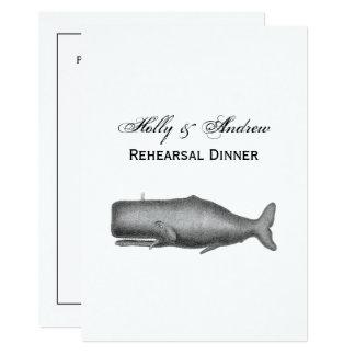 Desenho do século XIX da baleia do vintage Convite 12.7 X 17.78cm