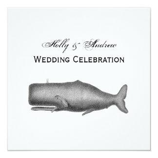 Desenho do século XIX da baleia do vintage Convite Quadrado 13.35 X 13.35cm