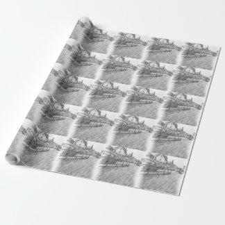 desenho do tráfego de carro papel de presente