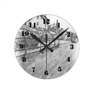 desenho do tráfego de carro relógio de parede