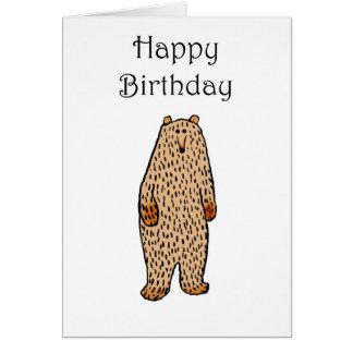 Desenho do urso marrom, feliz aniversario cartão comemorativo