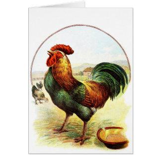 Desenho do vintage: O galo Cartão Comemorativo