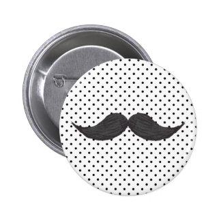 Desenho engraçado do bigode e bolinhas pretas bóton redondo 5.08cm
