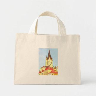 Desenho evangélico da torre de igreja bolsas para compras