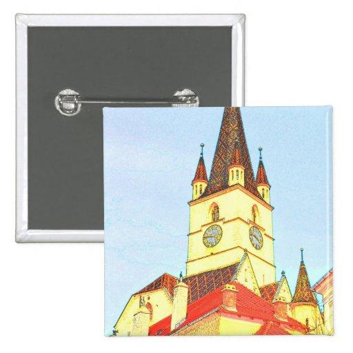 Desenho evangélico da torre de igreja boton