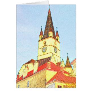 Desenho evangélico da torre de igreja cartões