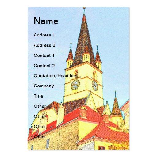 Desenho evangélico da torre de igreja cartões de visitas
