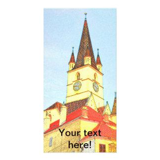 Desenho evangélico da torre de igreja cartão com fotos personalizado