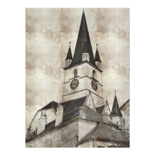 Desenho evangélico da torre de igreja convites