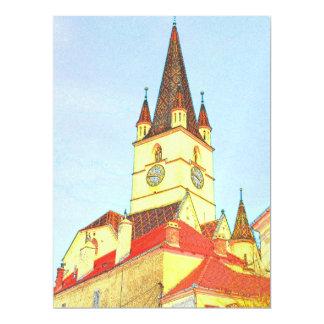 Desenho evangélico da torre de igreja convite 16.51 x 22.22cm