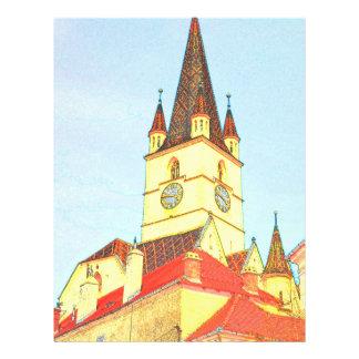 Desenho evangélico da torre de igreja panfleto personalizados