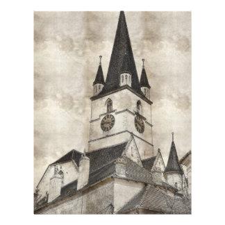Desenho evangélico da torre de igreja modelo de panfleto