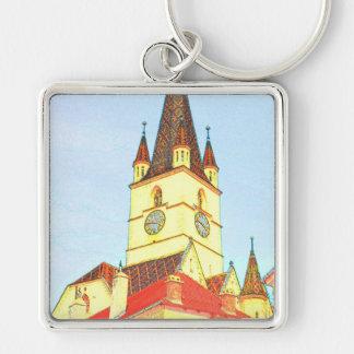 Desenho evangélico da torre de igreja chaveiro