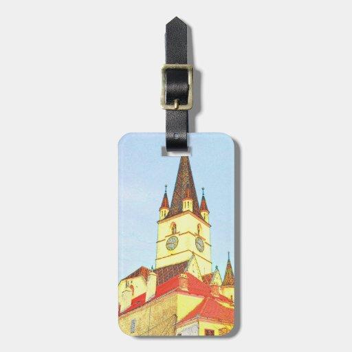 Desenho evangélico da torre de igreja etiqueta para bagagem