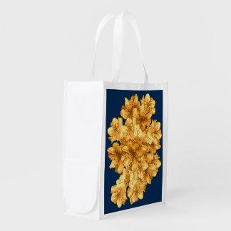 Desenho floral ilustrado amarelo do teste padrão sacolas reusáveis