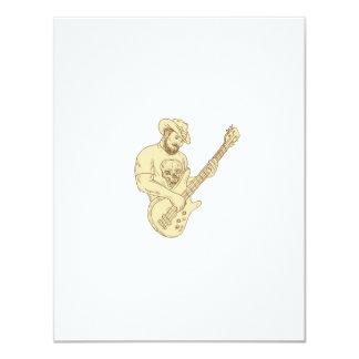 Desenho isolado da guitarra baixa do vaqueiro convite 10.79 x 13.97cm
