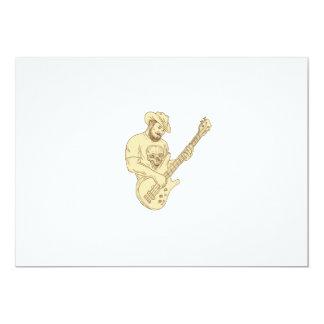Desenho isolado da guitarra baixa do vaqueiro convite 12.7 x 17.78cm