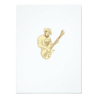 Desenho isolado da guitarra baixa do vaqueiro convite 13.97 x 19.05cm