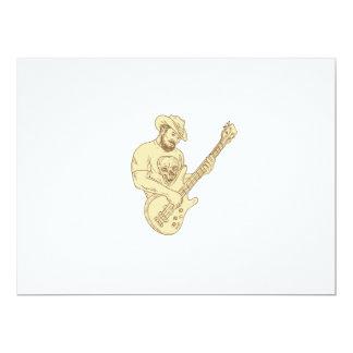 Desenho isolado da guitarra baixa do vaqueiro convite 16.51 x 22.22cm