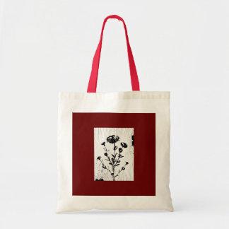 Desenho medieval da arte da flor sacola tote budget