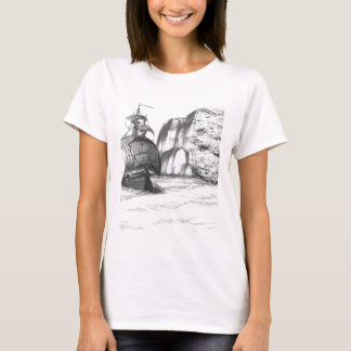 Desenho preto & branco de um navio de navigação camiseta