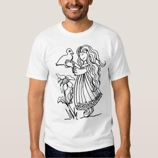 Desenho preto & branco - menina com pato t-shirts