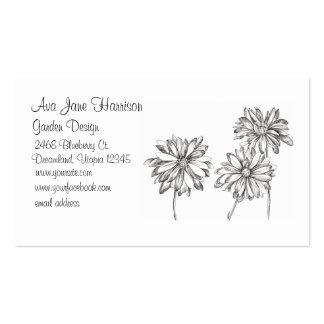 Desenho preto da flor branca da margarida cartão de visita