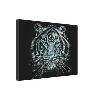 Desenho preto e branco do tigre em canvas da caixa