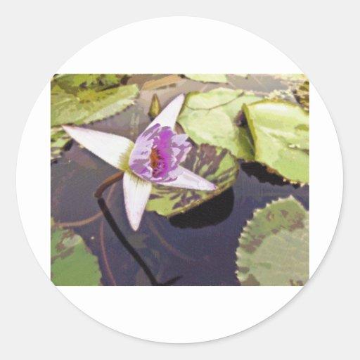 Desenho roxo da flor de Lotus Adesivos Em Formato Redondos
