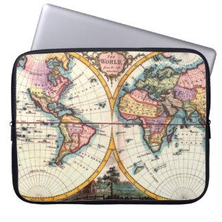 Desenho velho da ilustração do mapa do mundo da bolsas e capas para computadores