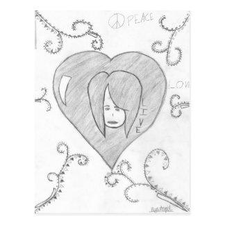 Desenho vivo do amor da paz dos anjos cartão postal