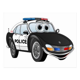 Desenhos animados 4 BW do carro de polícia Cartão Postal