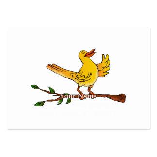 desenhos animados amarelos do canto do pássaro cartão de visita grande