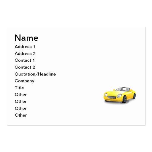 Desenhos animados amarelos do carro de esportes cartao de visita