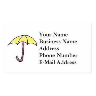 Desenhos animados amarelos do guarda-chuva cartões de visita