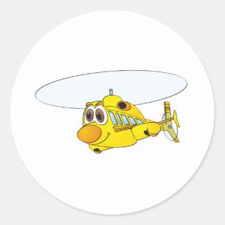 Desenhos animados amarelos do helicóptero adesivo em formato redondo